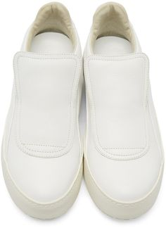 Maison Margiela - White Leather Slip-On Sneakers