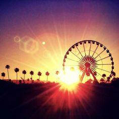 Summer-themed skyline in the sunset.