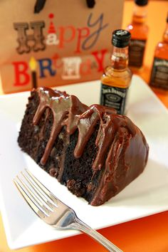 Jack Daniels Fudge Icing on Chocolate Cake....the ultimate, delicious cake.
