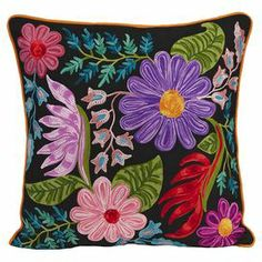 """Cotton pillow with an embroidered floral motif.  Product: PillowConstruction Material: Cotton cover and polyester fillColor: MultiFeatures: Insert includedDimensions: 20"""" x 20"""""""
