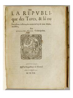 """Livre imprimé: """"De la république des Turcs"""" - Musée national de la Renaissance (Ecouen)"""