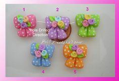 Flower Dot Bow Polymer Clay Charm Bead by rainbowdayhappy on Etsy