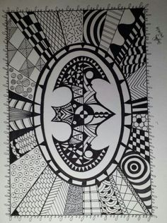 My Batman signal zentangle