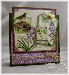 April 2015 G45 Time to Flourish - March Card with Lilac Stamp by Miriam Napier; Miriam's Delirium
