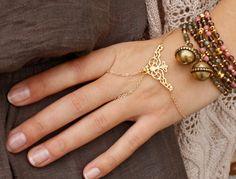 Slave bracelet  Gold hand chain bracelet  Gold by Oyeloria on Etsy, $45.00