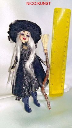 OOAK Dollhouse ,Halloween Witch with broom  ,1:12 NICO.KUNST #NICOKUNST