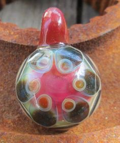 Dots on Persimmon and Lemondrop  Flameworked by DougPrellGlass, $72.00
