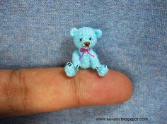 Tiny Mohair Bear - 1 Inch Miniature Teddy Bear - Blue Bear Plush Toy - Micro Crochet Bears  - Pink Bow
