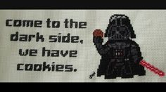 Darth Vader cross stitch by on deviantART - Come to the dark side :P Cross Stitch Embroidery, Cross Stitch Patterns, Starwars, Nerd Crafts, Disney Crafts, Dark Side, Needlework, Geek Stuff, Darth Vader