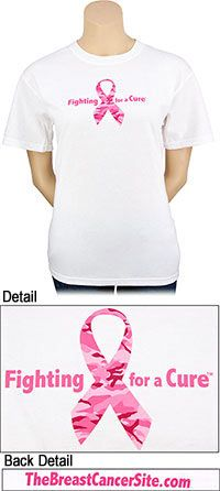 Pink Ribbon Fighting For a Cure T-Shirt at The Breast Cancer Site