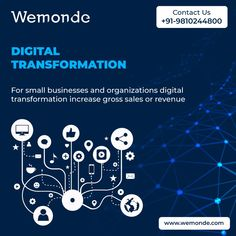 Set the path of transformation from physical to digital. For #smallbusinesses and #organizations #digitaltransformation increase gross sales or revenue. #Digitalsolution enable better customers engagement ,employee productivity, revenue growth and create innovative new products. Contact Us Today Know more about #DigitalTransformation solutions 📞 : +91-9810244800 #wemonde #Technology #DigitalTransformation #eCommerce #InformationTechnology #MobileApp #AppDevelopment Customer Engagement, Information Technology, App Development, Organizations, Mobile App, Productivity, Ecommerce, Digital Marketing, Innovation