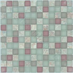 "Moso Mosaics  Crystile Blends, 1"" x 1"", Blush, Glossy & Unpolished, Pink, Glass and Stone"