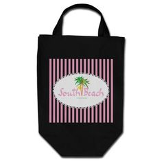 "This fun illustration/graphic ""South Beach Miami Sun "" looks stylish on this black tote bag. More matching items at the ingeinc store."