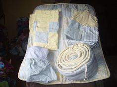 Pottery Barn Kids Green Yellow Gingham Comforter Bumper Skirt Stacker 2 Valances #PotteryBarnKids