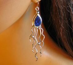 Sterling silver dangle earings with blue by RadiantOriginals, $52.00