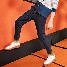 Elf Sack female autumn color block straight jeans casual pants female drawstring pantyhose| elfsack