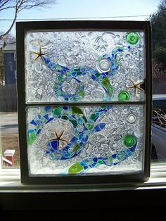The birth of a sea glass window mosaic 6 by mornindew2822, via Flickr (used epoxy)