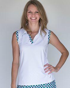Waggle Blue & Green Print  GolfHER Ladies & Plus Size Sleeveless Golf Shirt at #lorisgolfshoppe