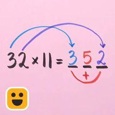 Mental Math Tricks, Cool Math Tricks, Life Hacks For School, School Study Tips, Math For Kids, Fun Math, Math Skills, Math Lessons, Math Tutorials