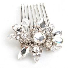 Antique Style Small Side Wedding Hair Comb with filigree flower encrusted with diamantes & pearls