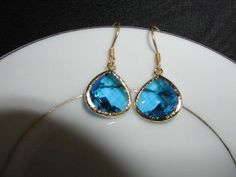 Royal Ice Blue Crystal Dangle Earrings by luvswoodencars2 on Etsy, $20.00