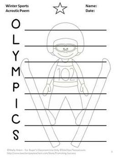 FREE!!! Olympics: Your students will be motivated to write an acrostic poem with this FREE fun Olympics graphic organizer!
