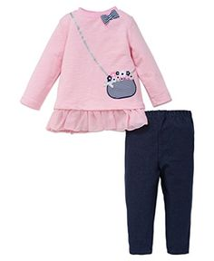 073d02aba66 Little Me Baby Girls 2 Piece Long Sleeve Knit Fashion Legging Set PinkMulti  18 Months
