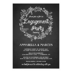 Engagement Party Invitation -  Floral Chalkboard