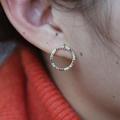 Gold color round circle geometric stud earring paved rainbow colorful cz zirconia fashion trendy women jewelry Outfit Accessories From Touchy Style Punk Earrings, Big Earrings, Simple Earrings, Statement Earrings, Fashion Bracelets, Fashion Earrings, Jewelry Trends 2018, Sterling Silver Earrings Studs, Earring Studs
