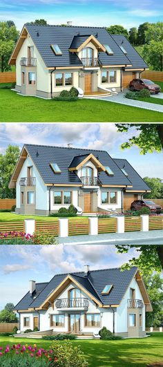 This four bedroom classic house design is an interesting proposition for people with medium-wide plot. The house has a typical shape, which greatly facilitates the construction process. Two Storey House Plans, Classic House Design, Bedroom Classic, Construction Process, Two Story Homes, Story House, Designers, Floor Plans, Doors