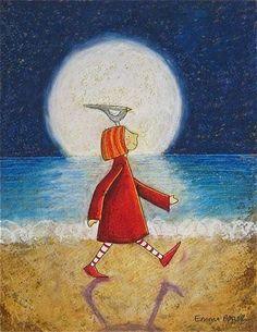 Moon walk with a bird, artist unknown