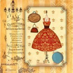 Red Dress Illustration for Decoupage