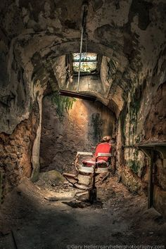 Devils Haircut Barbers Chair Demon Barber by garyhellerphotograph Al Capone, Barber Shop Interior, Barber Shop Decor, Black Background Photography, Color Photography, Newborn Photography, Old Abandoned Buildings, Abandoned Places, Photo Background Images