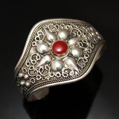 Étnica berberes orientais jóias pulseira mix bracelete de prata 09 Red Pearl