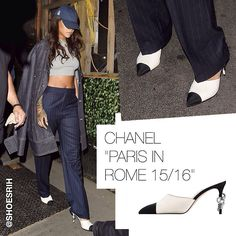 Chanel two-tone white & black mule sandals Paris in Rome 2015/2016 collection, @badgalriri