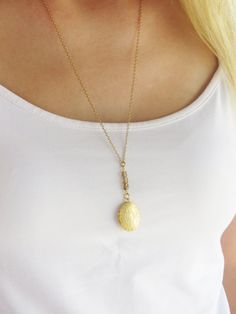 Gold long necklace Locket necklace Oval locket by HLcollection