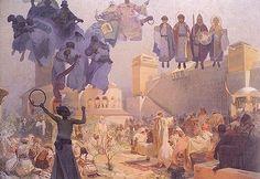 1912 Epopeya Eslava: Introduction of the Slavonic. Alphonse Mucha