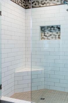 Tile: H Line Tile 4x16 Cotton, Arctic Storm Arabesque Stone Mosaic