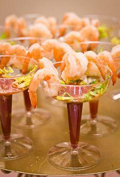 Serve shrimp cocktail in individual glasses.