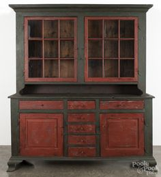 """Bryce Ritter contemporary painted pine Dutch cupboard, 85 1/2"""" h., 71 1/2"""" w."""
