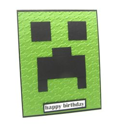 "A MineCraft Card using the 1"" Square Punch and the Houndstooth from Stampin' Up!"