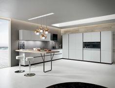 Light Grey laminate doors. Silestone Amazon Volcano worktop. #ArritalCucine #Kculture #modern #kitchen #Ak02