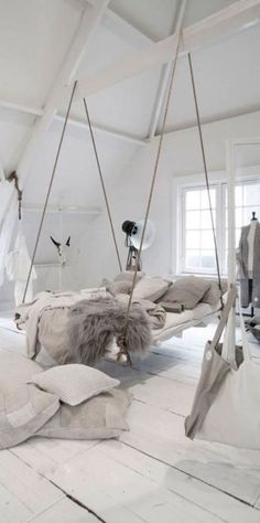 bedrooms ideas Incredible hanging bed idea in an all white bedroom with lots of cozy blankets and pi Girls Bedroom, All White Bedroom, Teen Bedroom Designs, Bedroom Ideas, Bed Ideas, Modern Bedroom, Diy Bedroom, Bedroom Wardrobe, Master Bedroom