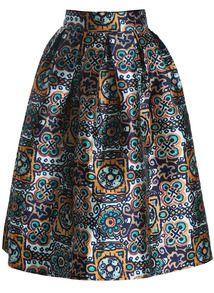 Green High Waist Floral Flare Skirt US$23.67