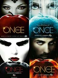 "OUAT Title cards with the ""villain"": Evil Queen, Snow Queen, Dark Swan, Dark Hook"