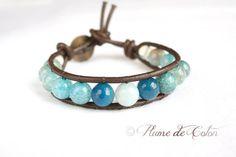 Aqua and blue Agate Gemstone leather wrap bracelet by Plume de Coton, on Etsy