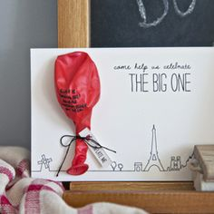 An inflatable birthday invitation inspired by the classic French film, The Red Balloon. via craftgawker Birthday Balloons, 1st Birthday Parties, Birthday Cards, Fourth Birthday, Balloon Invitation, Invitation Design, Twin First Birthday, Red Balloon, Balloon Party