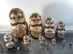 "Set of 10 Antique Ornate Russian Nesting Dolls Signed by ""Ceprueb Nocag"" 