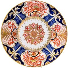 An Early 19th Century Derby Dish with Imari Colors  Blue & Orange   From a unique collection of antique and modern porcelain at http://www.1stdibs.com/dining-entertaining/porcelain/