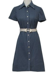 1970's Vintage Villager Dress: 70s -Villager- Womens navy blue and ...